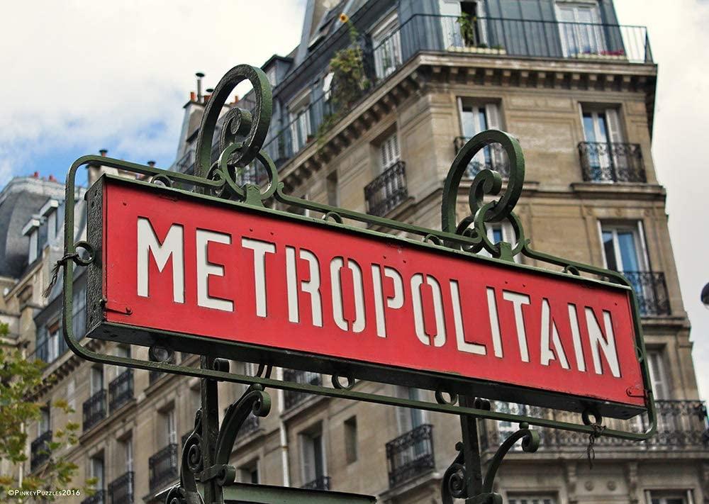 "Travel Puzzle for Adults – 1000 Piece Jigsaw Puzzle – Pinkey Puzzles Paris Metro – 26¾"" x 19"" Photography Puzzle"