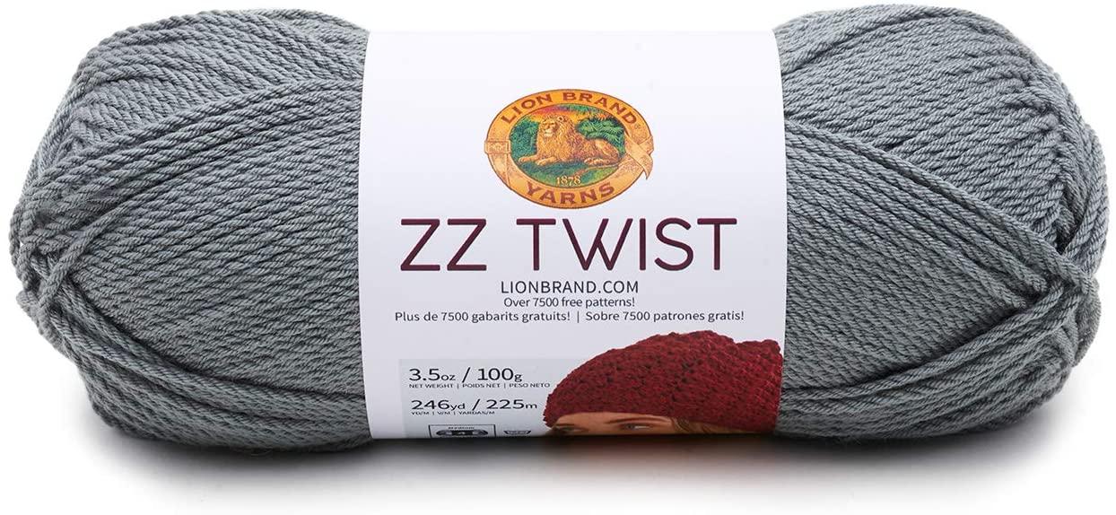 Lion Brand Yarn ZZ Twist Yarn, Grey