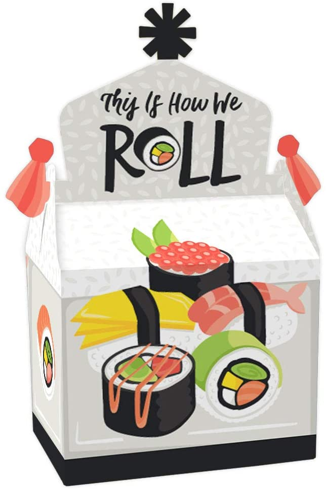 Big Dot of Happiness Let's Roll - Sushi - Treat Box Party Favors - Japanese Party Goodie Gable Boxes - Set of 12