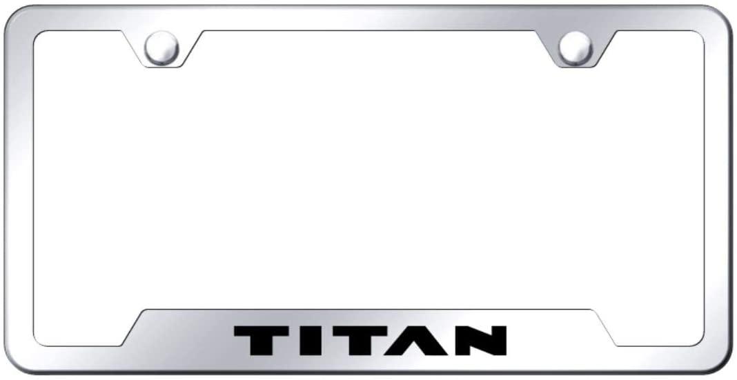 Au-Tomotive Gold, INC. License Plate Frame for Nissan Titan Stainless Steel Chrome - GF.TIT.EC
