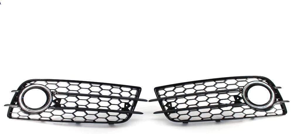 Arotom For Audi A4 B8 S-Line S4 2008-2012 Bumper Fog Light Grille Honeycomb Grill (Chrome Trim)