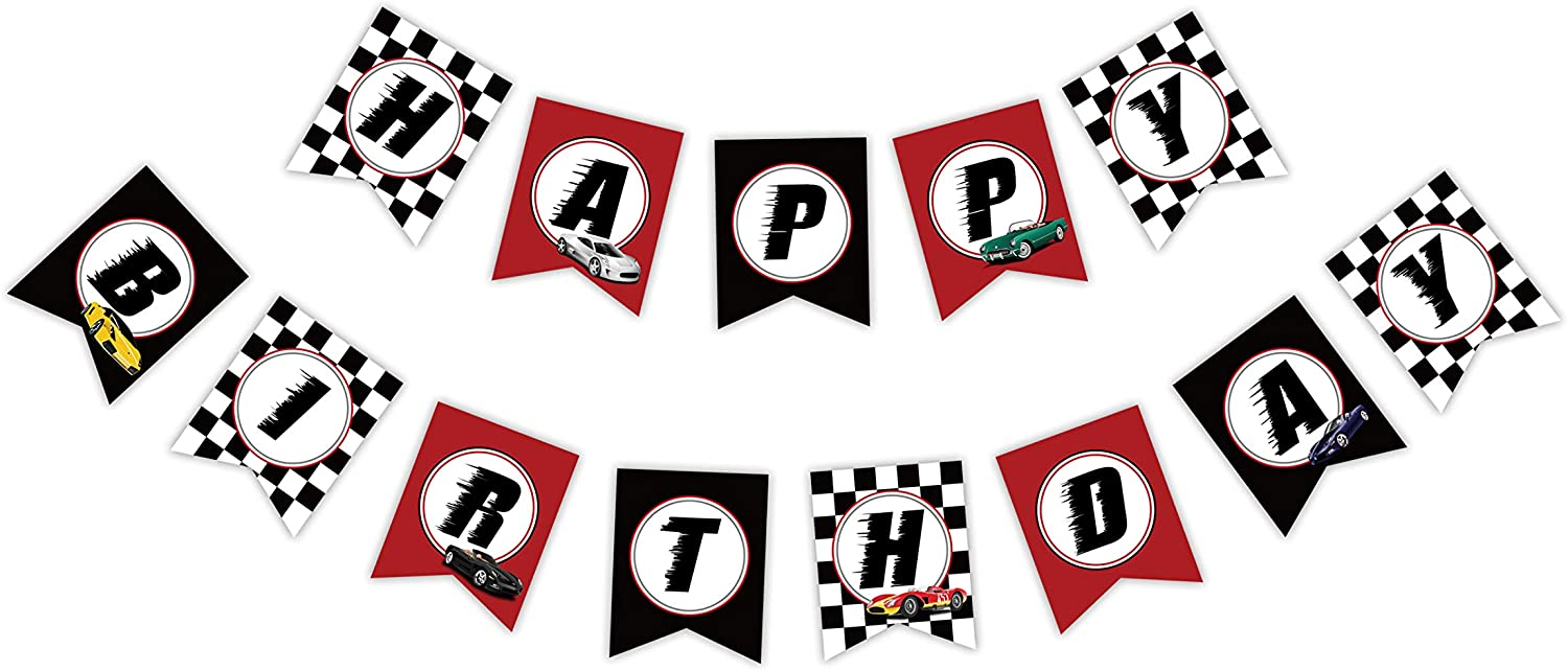 Maplelon Race Car Birthday Banner, Racing Bday Party Theme Decoration, Cool Car Bunting Sign for Kids