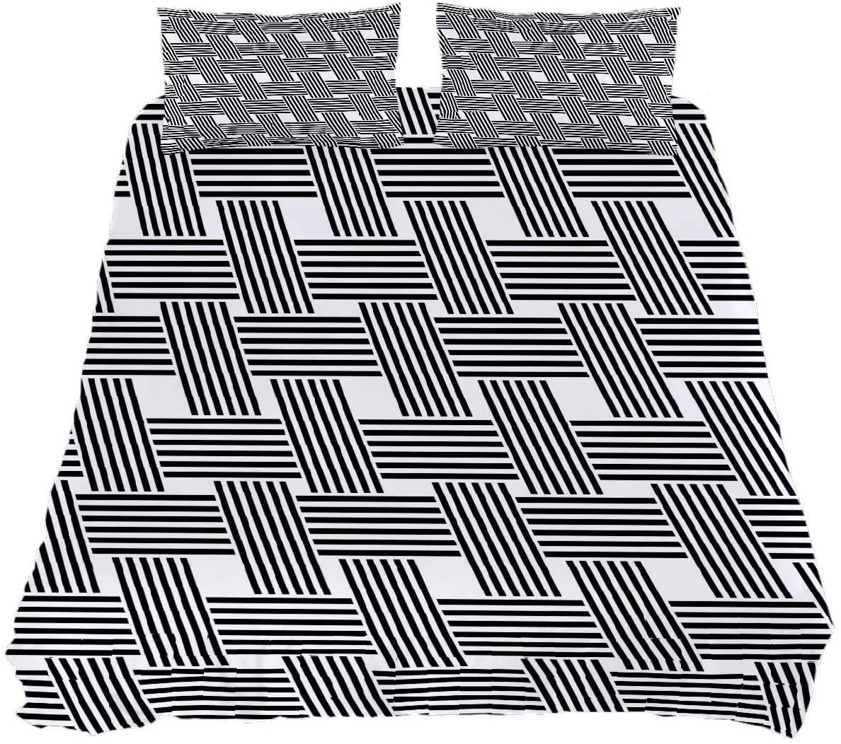 Mealove Black and White Grid 3-Piece Bedding Set Art Design Print Decorative Comfortable Soft Quilt Cover Bedding Set with 2 Pillows(Twin 55''79'')