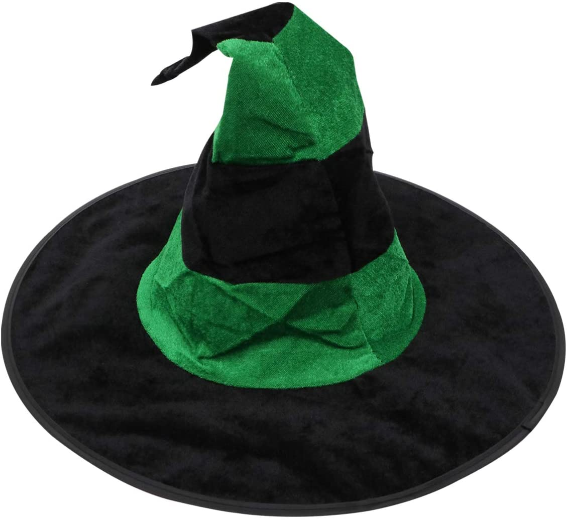 KESYOO Halloween Glowing Witch Hat Party Witch Headband Festival Cosplay Cap Witch Costume Accessory for Halloween Christmas Party (Black Green)