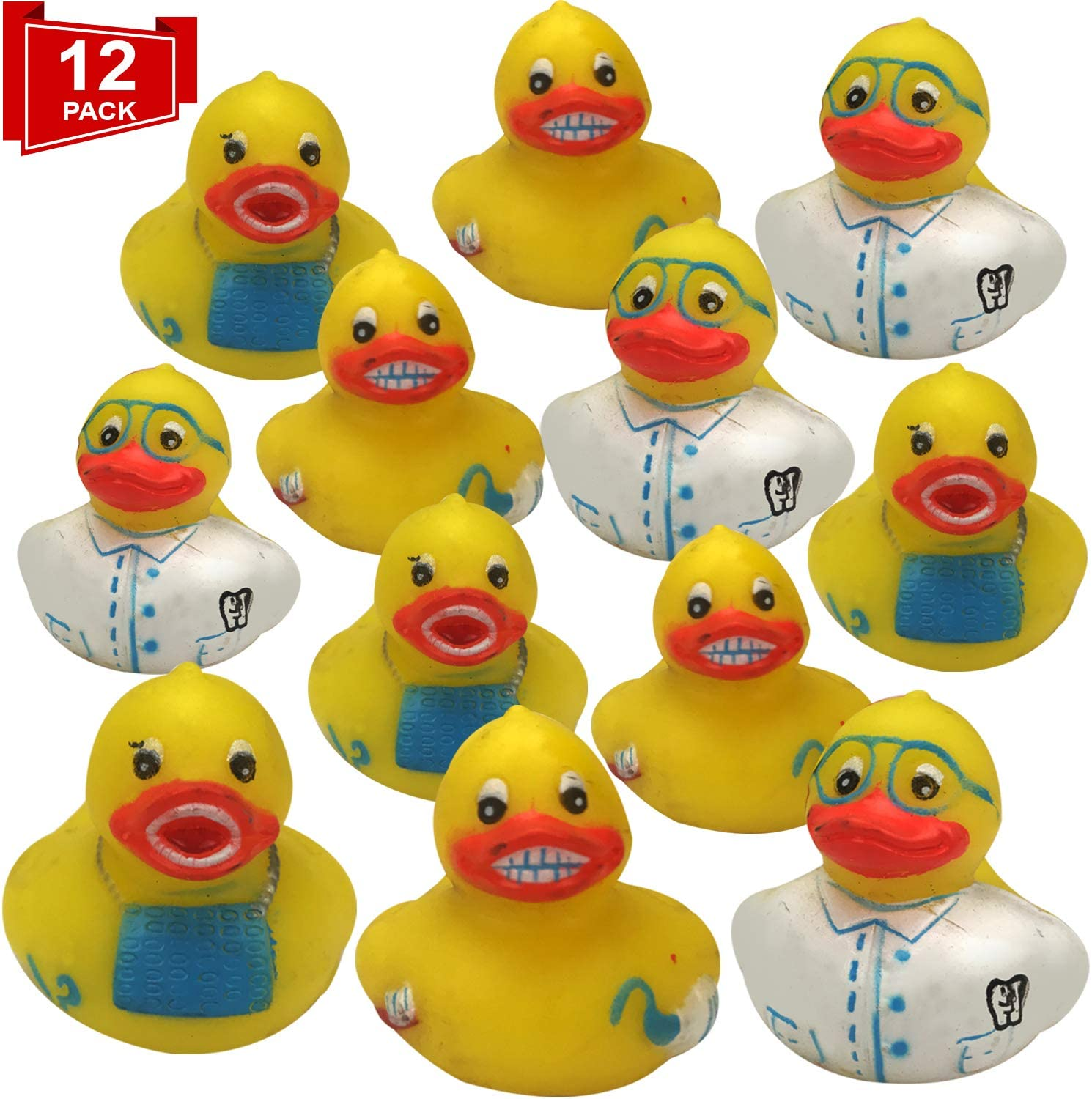 Livativ Playko 2 Inch Rubber Ducks - Rubber Ducks in Bulk - Rubber Duckies - Rubber Ducks for Pool - Pool Floats for Kids - Colorful Bathtub Toys (Dental Rubber Duckies (Pack of 12))