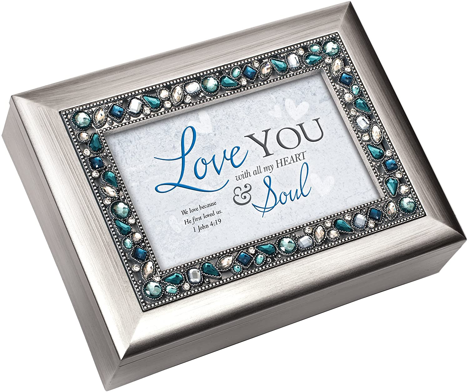 Cottage Garden Love You with All My Heart Brushed Silvertone Jewelry Music Box Plays Amazing Grace