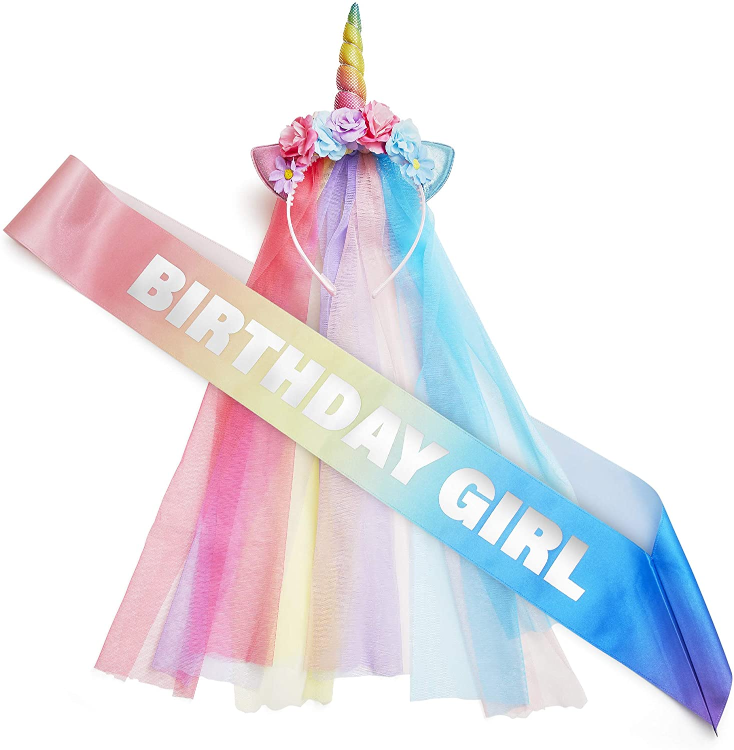 Rainbow Unicorn Party Supplies - Headband and Sash for Girls - Themed Costume Outfit for Bachelorette, Birthday - Colorful, Magical Unicorn Party Favors for Adults and Children