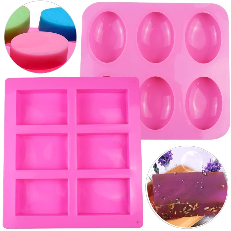 2 Pack Soap Molds Rectangle Oval Shaped Silicone Mold DIY Handmade Soap Making Cupcake Baking Moulds