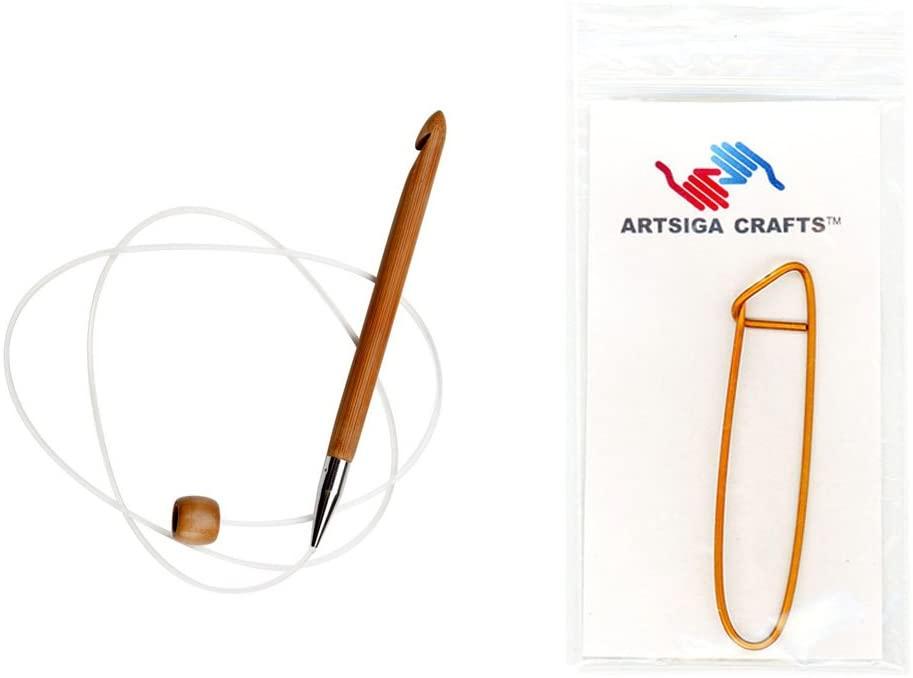 ChiaoGoo Knitting Needles Flexible Crochet Hook 40 inch (102cm) Bamboo Dark Patina Size US M (9mm) Bundle with 1 Artsiga Crafts Stitch Holder 5140-M