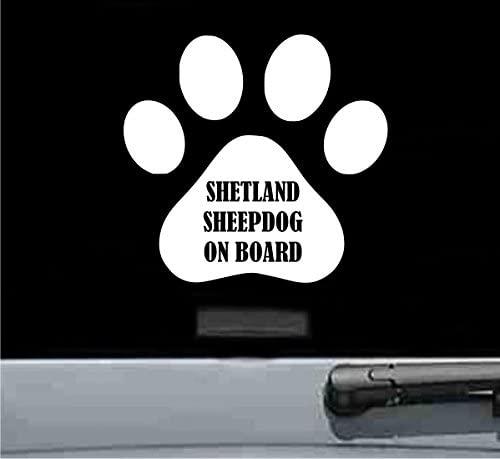 Shetland sheepdog on board Vinyl Decal Sticker (WHITE)