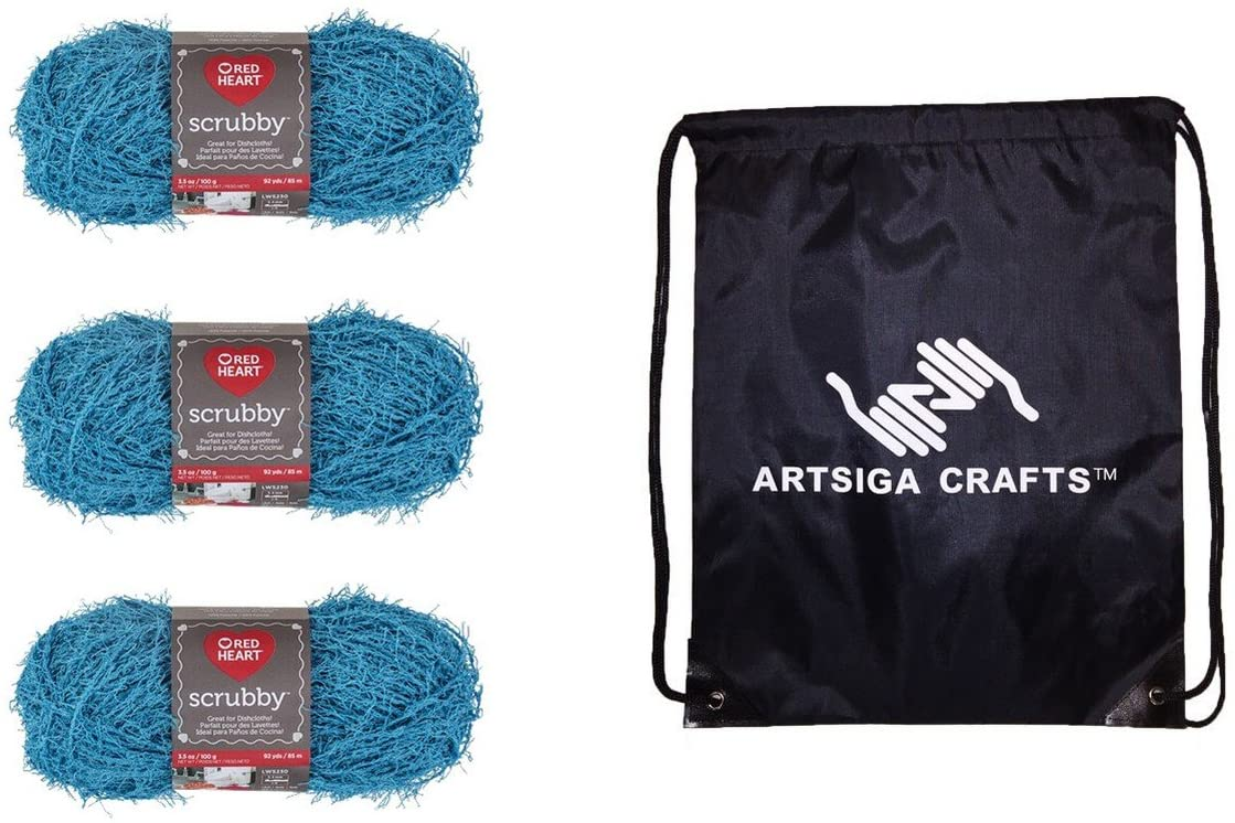 Red Heart Knitting Yarn Scrubby Ocean 3-Skein Factory Pack (Same Dyelot) E833-501 Bundle with 1 Artsiga Crafts Project Bag