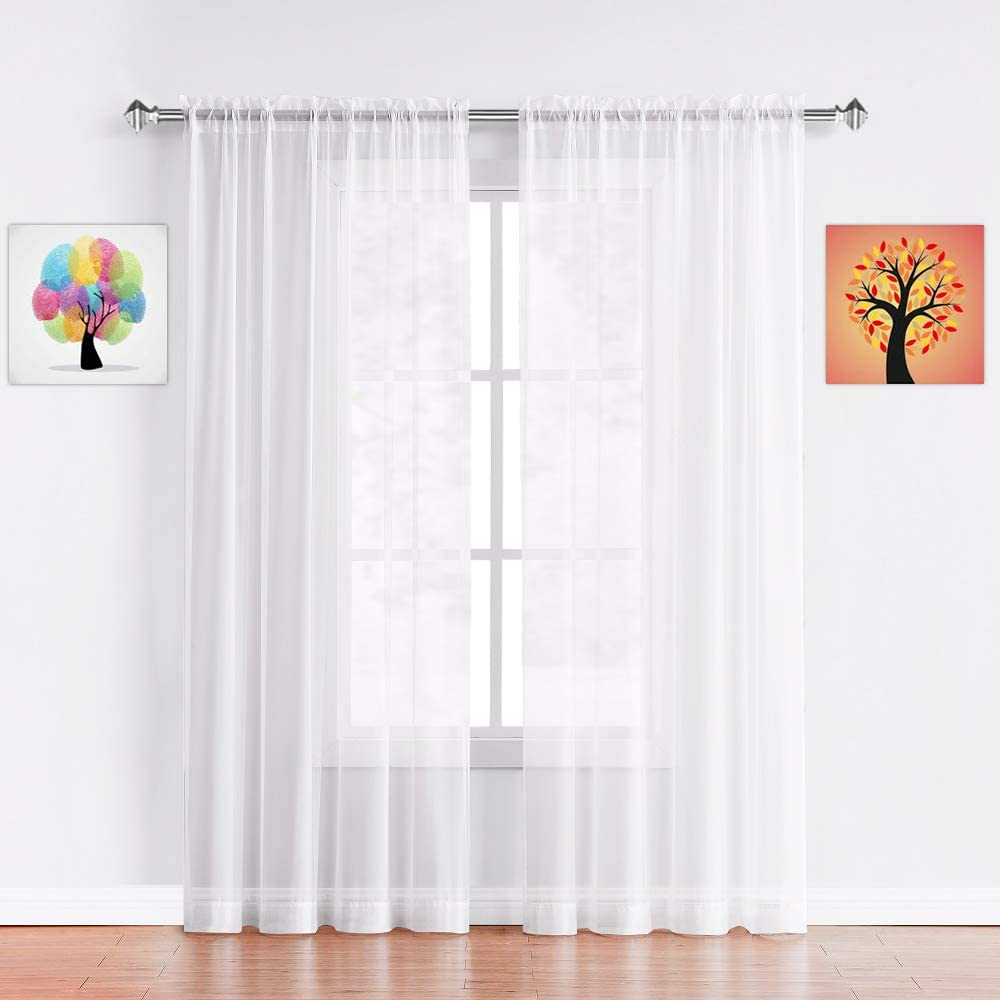 Warm Home Designs Pair of Standard Length White Sheer Window Curtains. Each Voile Drape is 56 X 84 Inches in Size. Great for Kitchen, Living, Kids Room. 2 Fabric Panels Included. AM White 84