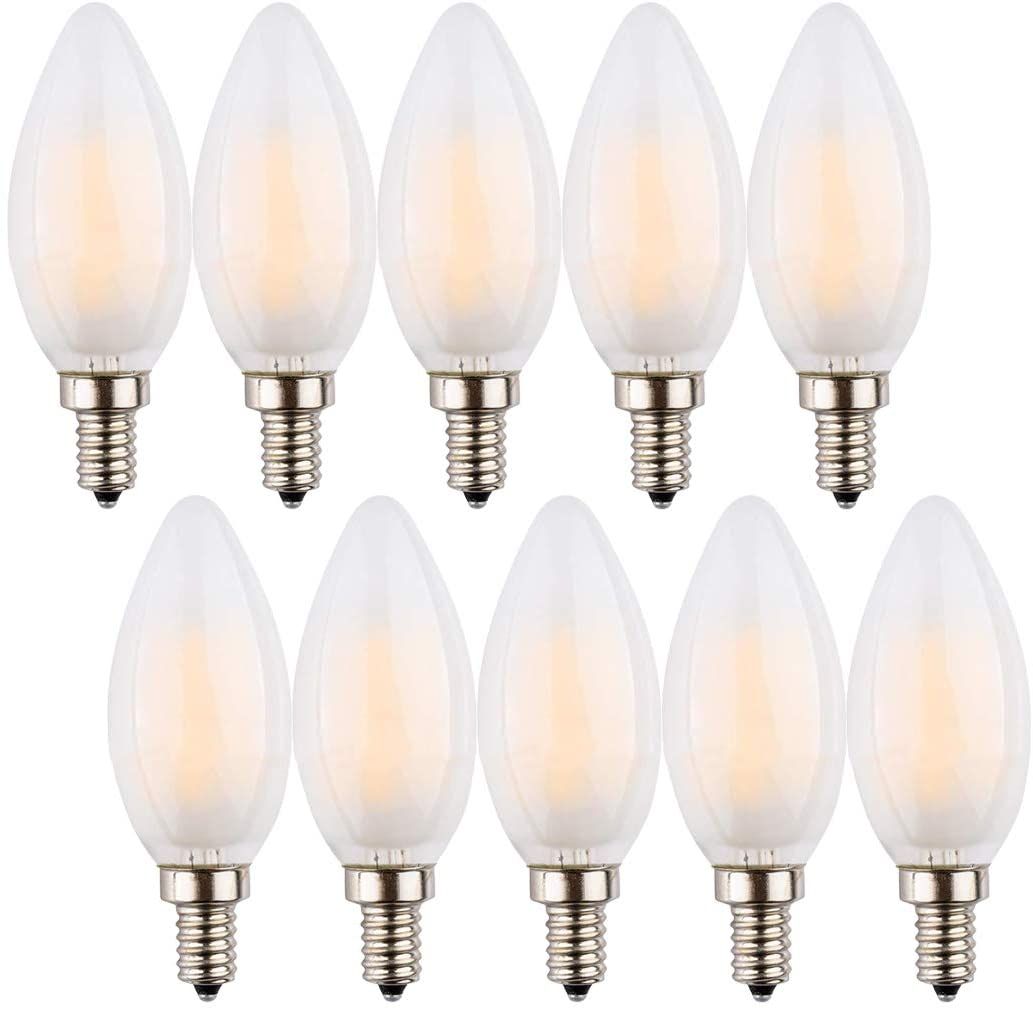 LED Candelabra Bulb 4W, Chandelier LED Bulbs, E12 Base NOT-Dimmable LED Candle Bulbs, C35 Frosted Glass Cover,Torpedo Shape Bullet Top,softwhite,2700K LED , 40W Equivalent 350LM , Pack of 10