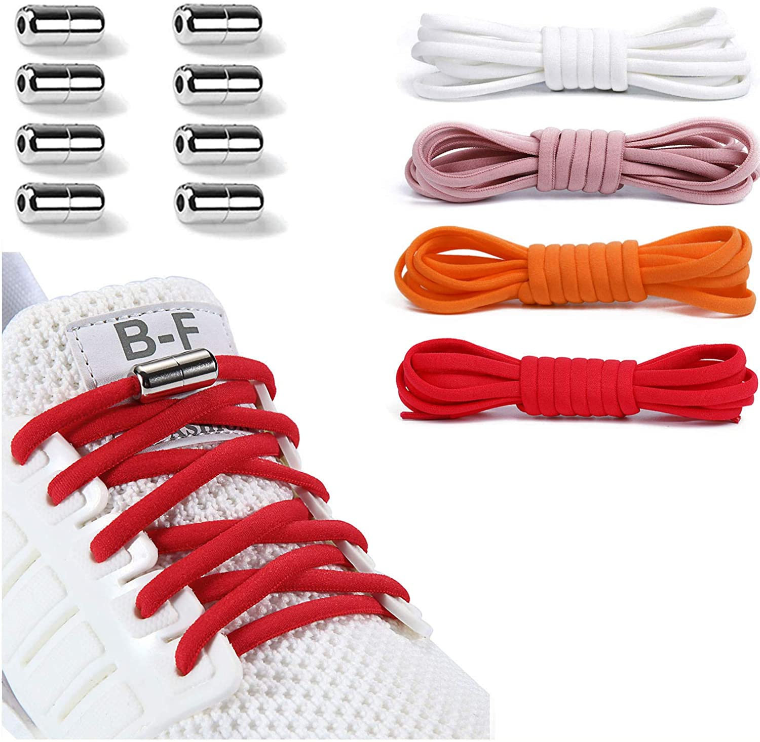 Booyckiy [4 Pairs] No Tie Elastic Shoe laces - Tieless Shoelaces for Kids, Adults and Elderly, One Size Fits All