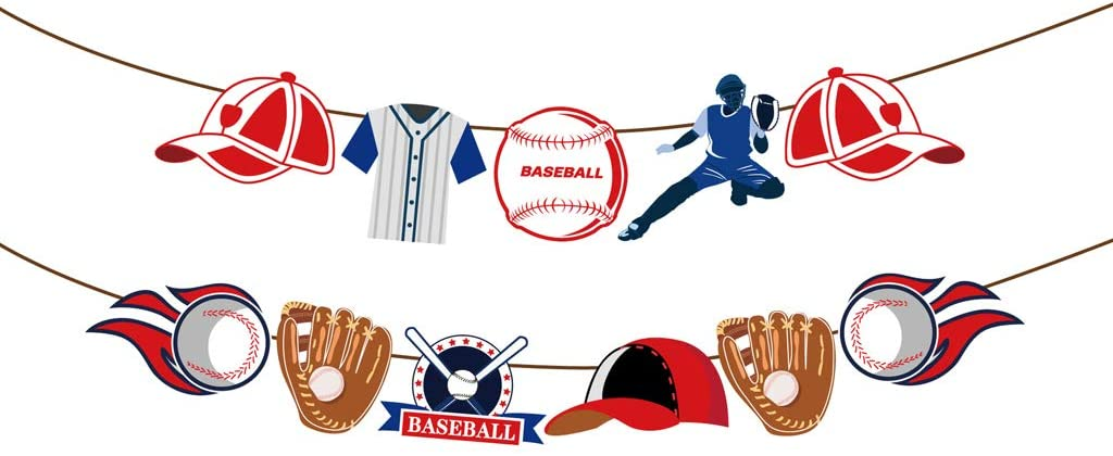 2Pcs Baseball Party Banner, GOparty 86.6inch Baseball Theme Party Supplies Baby Shower Favor for Boys Sports Birthday Themed Party Decoration