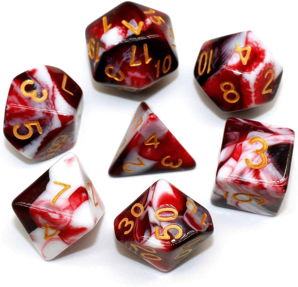 HD Dice DND RPG Marble Dice Set Fit Dungeons and Dragons(D&D) Pathfinder Role Playing Games Polyhedral Dice D20 D12 D10 D8 D6 D4 %D (Red & White)