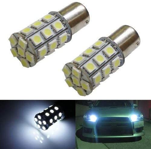 iJDMTOY (2) 360? 27-SMD-5050 7507 PY21W LED Bulbs Compatible With Turn Signal Lights, Daytime Running Lights, Reverse Lights, Xenon White
