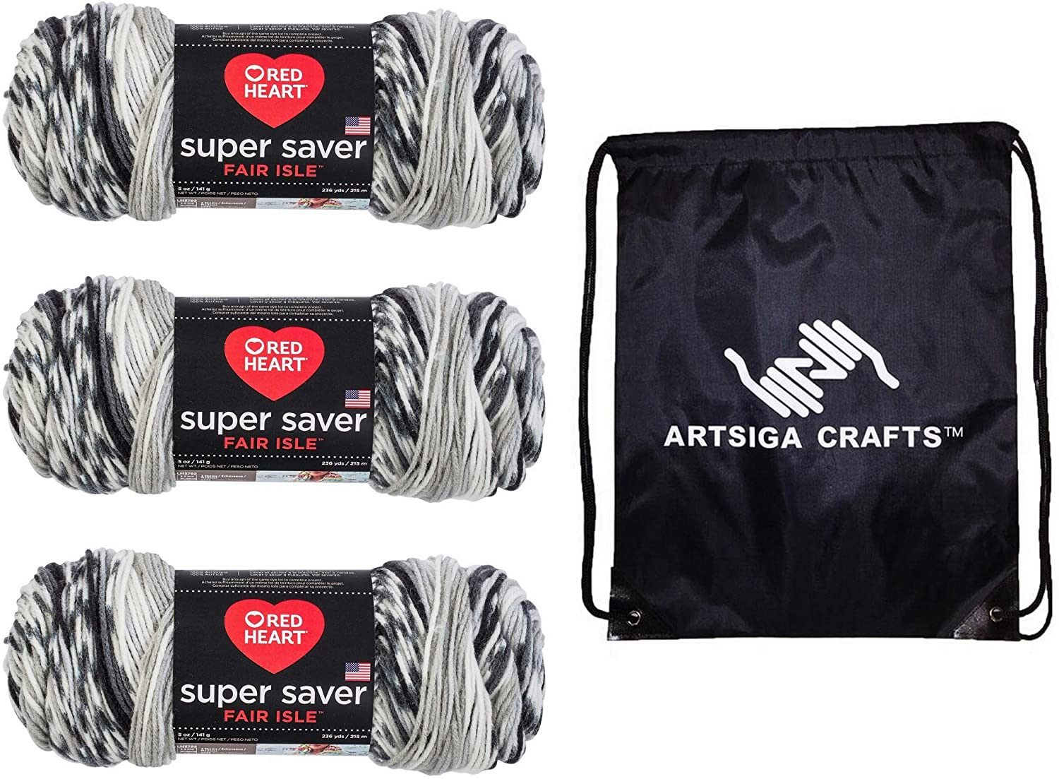 Red Heart Knitting Yarn Super Saver Fair Isle Newspaper 3-Skein Factory Pack (Same Dyelot) E300F-7254 Bundle with 1 Artsiga Crafts Project Bag