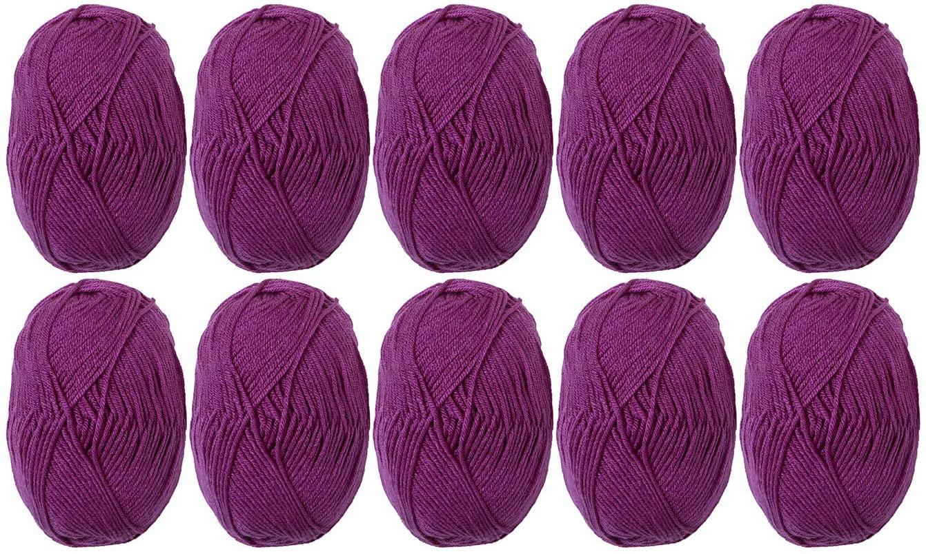 Knit Picks Brava Worsted 100% Premium Acrylic Yarn - 10 Skeins (Mulberry)