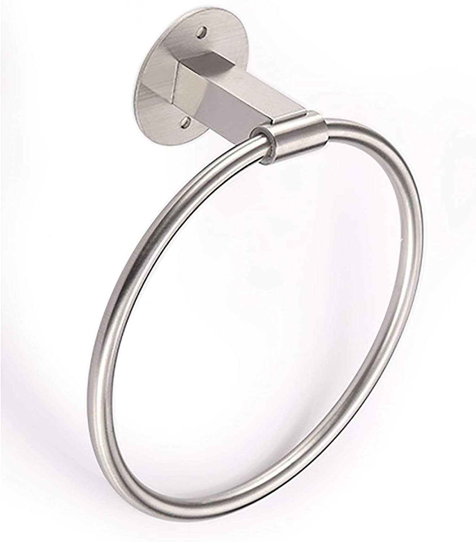 HANZE Bathroom Hand Towel Ring, Wall Mounted Adhesive Hanging Round Towel Circular Holder, Polished Rustproof 304 Stainless Steel Towel Rack (Large)