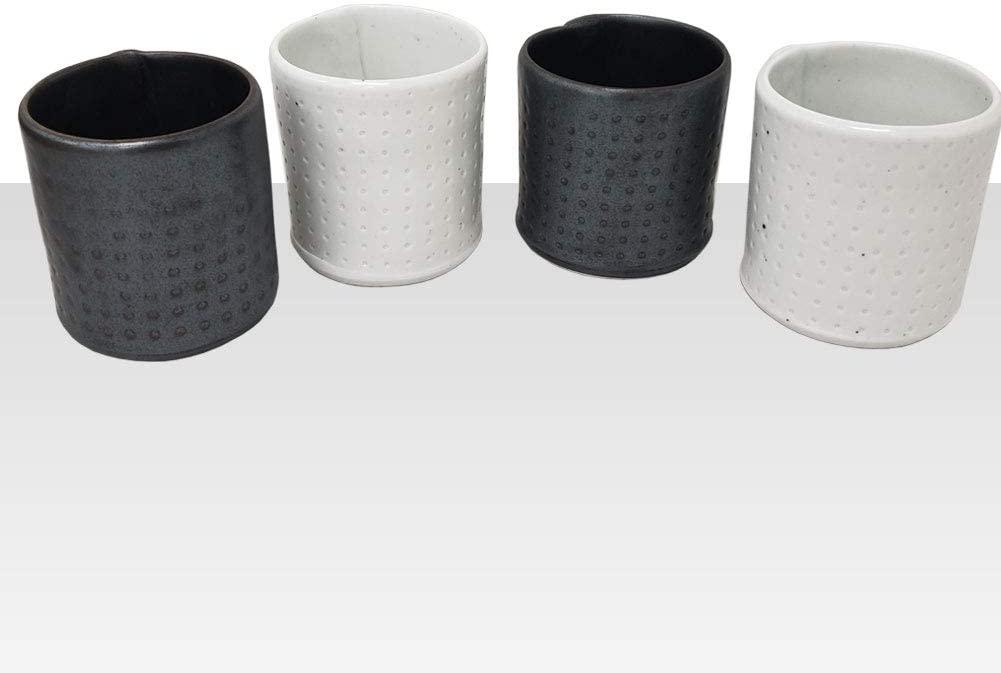 KACHI Handmade Korean Pottery Ceramic Tea Cup Set 8 oz Tea Water Cup Set, Set of 4