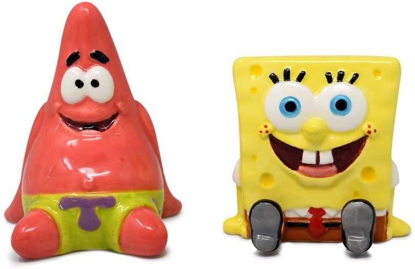 SpongeBob SquarePants and Patrick Salt and Pepper Shaker Set - Hand Painted, Ceramic, 2-Piece Set, Home and Kitchen Utensils, Homeware, Refillable