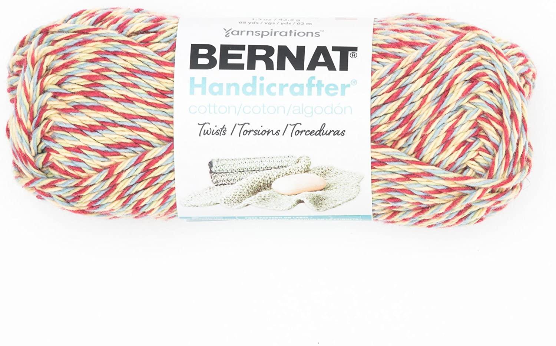 Bernat Handicrafter Cotton Twists Yarn, 1.5 oz, Gauge 4 Medium Worsted, 100% Cotton, Cottage Twists
