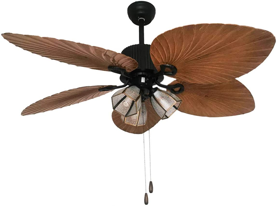 BTDH 52-Inches Ceiling Fan Light 5 ABS Palm Leaf Blades Tropical Style 3 Speed Quiet Motor LED Chandelier w/Pull Chain for Bedroom Home Office Restaurant Bar Cafe