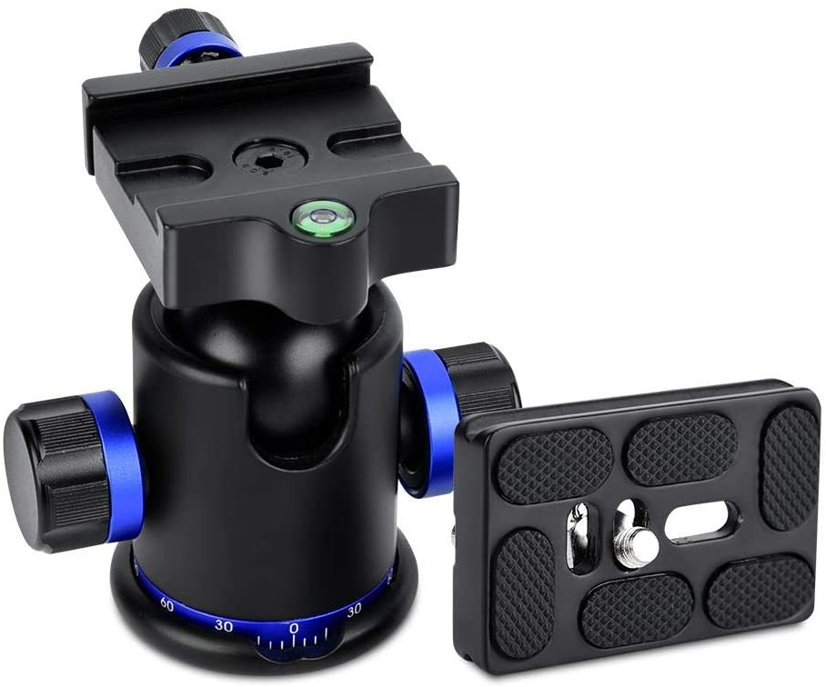 Durable Tripod Ball Head, Tripod Head, Panoramic Ball Head, with 3pcs 1/4 to 3/8 Screw Adapter for Tripod for Monopod(blue)