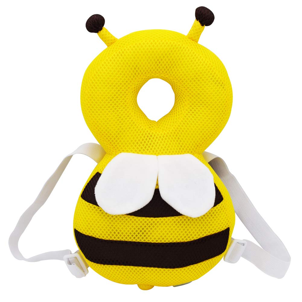 Melantha Baby Head Protector Adjustable Infant Safety Pads Cushion Toddlers Breathable Back Protection Aged for 6-24 Months Walking or Running (Yellow-Honeybee)