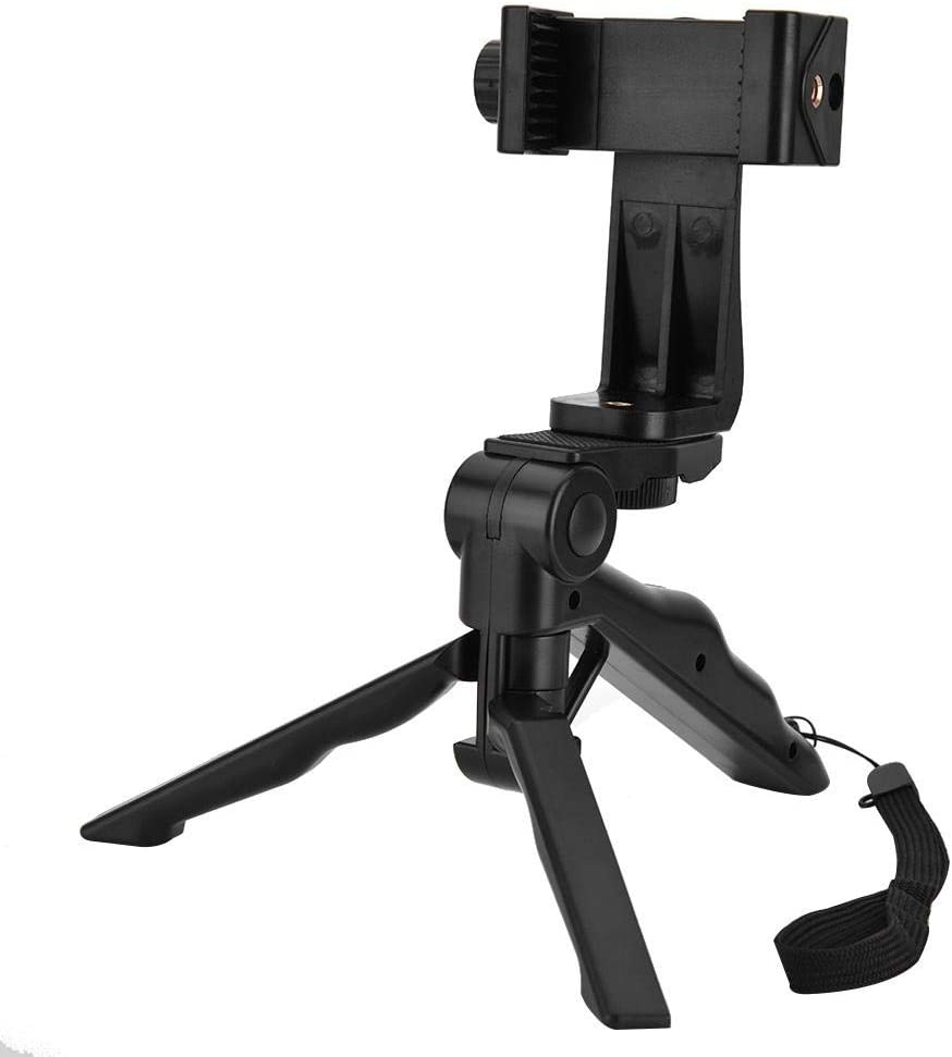Adjustable Phone Holder Tripod Handheld Stabilizer Hand Grip Mount for Smartphone, Multiple Angle Shooting Compact Foldable Durable Lightweight High Compatibility Phone Stand
