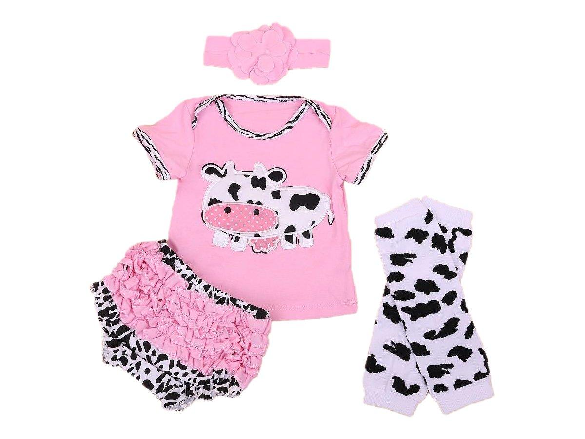 Baby Rae Pink Cow Clothing 4 in 1 Set: Cow Shirt+Head Band+Legging Socks+Shorts