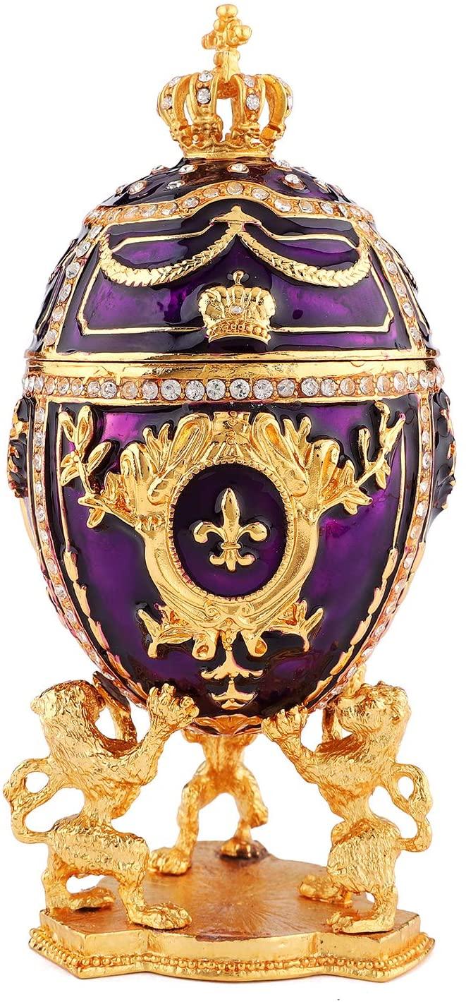 QIFU-Hand Painted Enameled Elegant Purple Faberge Egg Style Decorative Hinged Jewelry Trinket Box Unique Gift for Home Decor
