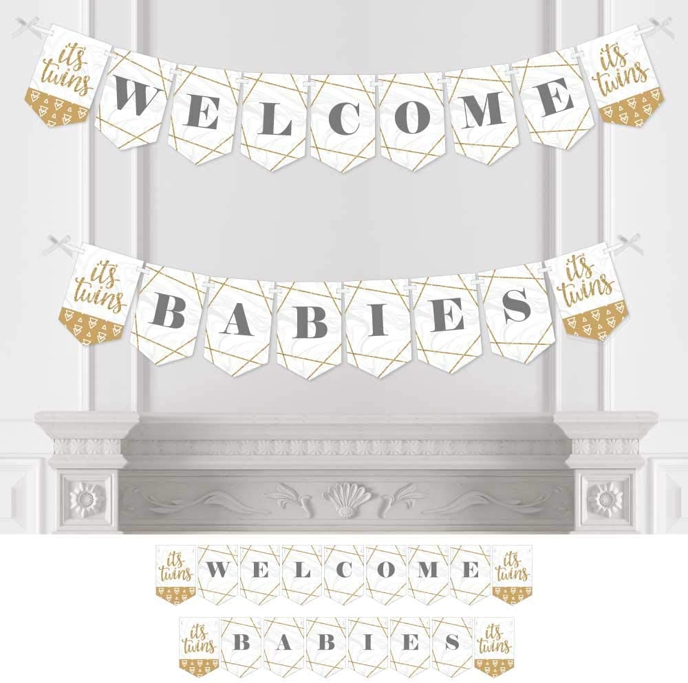 Big Dot of Happiness It's Twins - Gold Twins Baby Shower Bunting Banner - Party Decorations - Welcome Babies