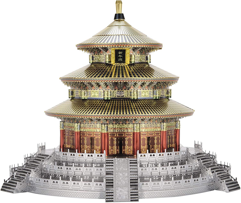Microworld J060 Beijing Temple of Heaven Model Building Kits Toys Famous Architecture DIY 3D Metal Puzzle Jigsaw Laser Cut Brain Teaser Puzzles