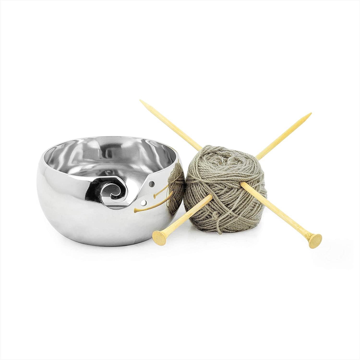 Opulent Silversmith Unbreakable Aluminum Metal Yarn Storage Bowl Nickel Plated for Skeins Hanks & Balls | Knitting & Crochet Notions | Nagina International (Small, Aluminum)