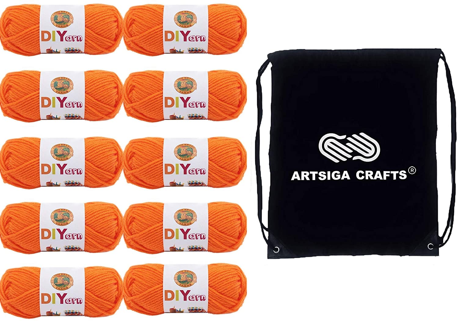 Lion Brand Knitting Yarn DIYarn Orange 10-Skein Factory Pack (Same Dye Lot) 205-133 Bundle with 1 Artsiga Crafts Project Bag