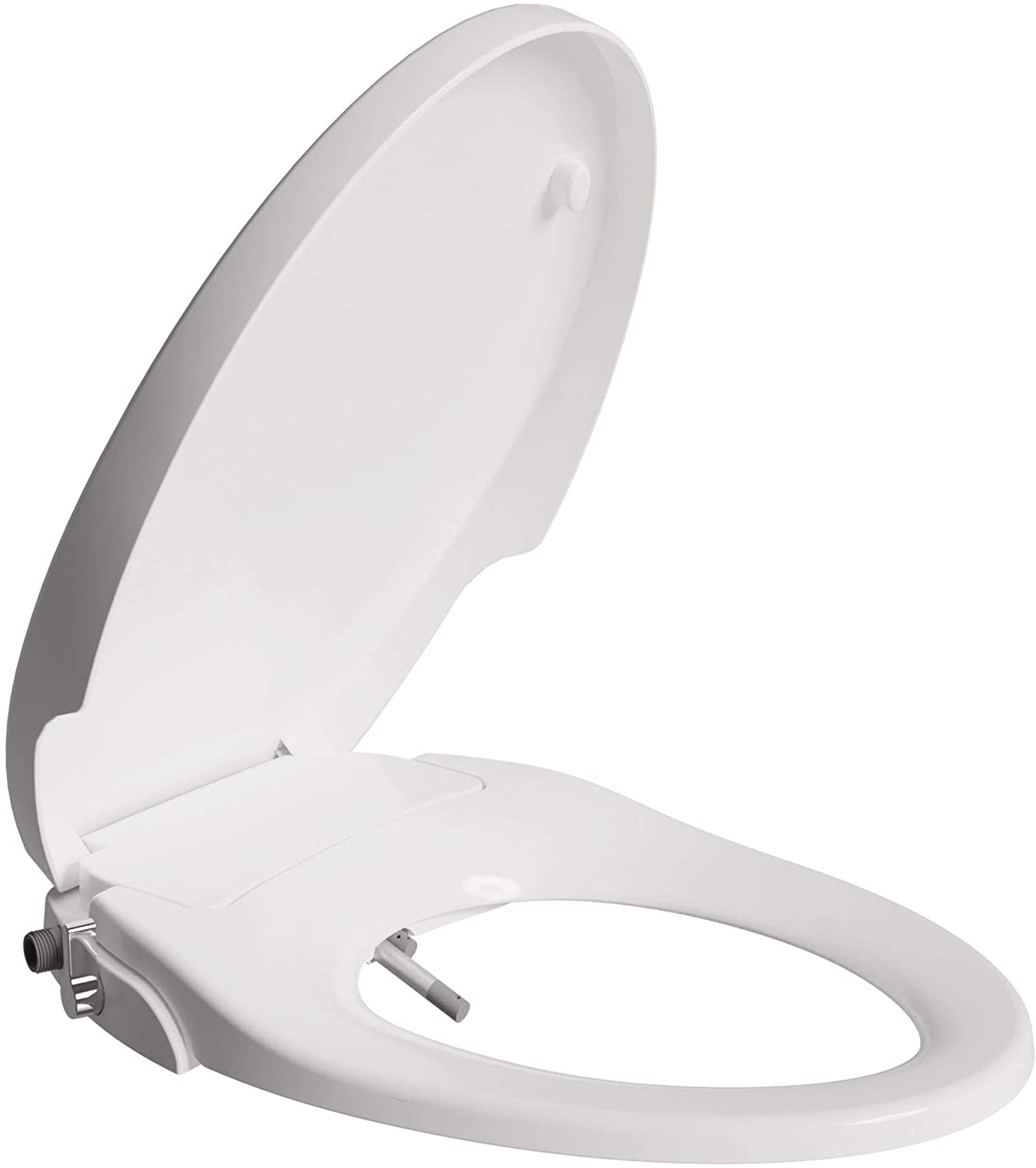 ANZZI HAL Soft Close Dual Nozzle Non Electric Manual Bidet for Elongated Toilet Seat in White | Feminine Rear Water Pressure Spray Control Lever Handle Bidet for Bathroom | Self Cleaning system