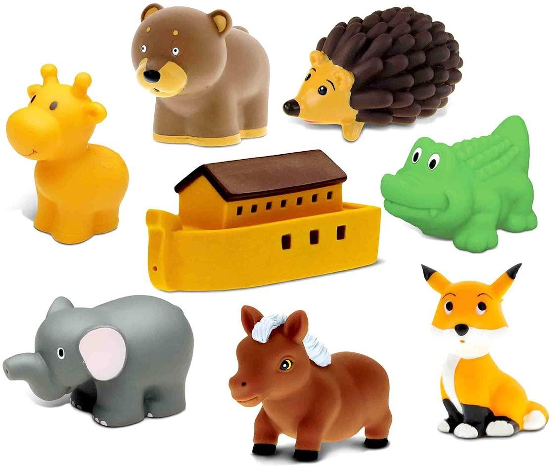 Dollibu Bath Buddies Noahs Ark and Critters Rubber Squirter Toys - Boat, Elephant, Alligator, Giraffe, Fox, Pony, Bear, Hedgehog - 3 inch - for Baths, Pool, Outdoor - Baby Bathtime Learning (8pc Set)