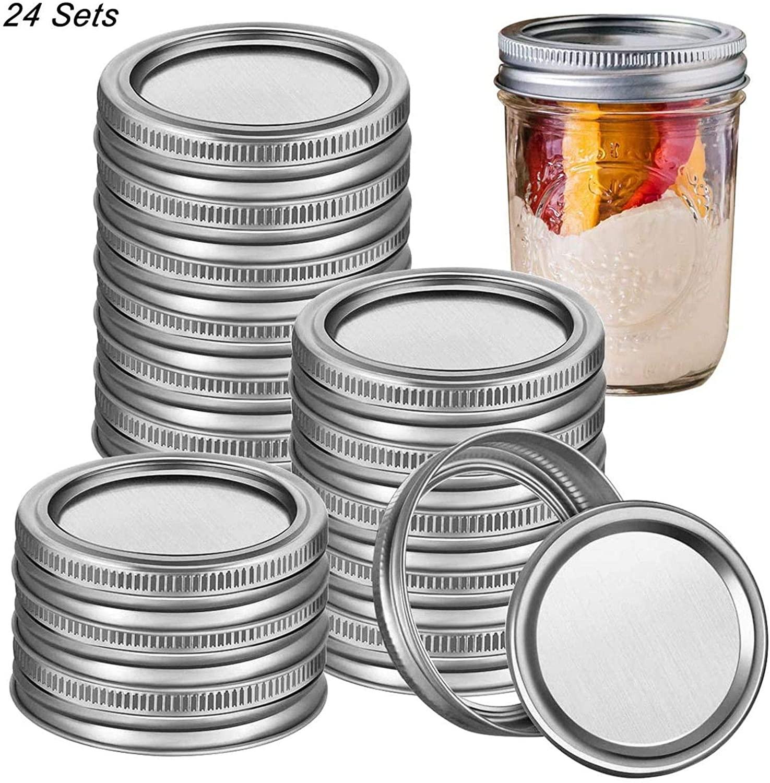 24 PCS Canning Lids,Regular Mouth Mason Jar Lids,Stainless Steel Lids for Mason Jar Regular Mouth,Split-Type Lids Leak Proof Secure Mason Storage Caps (24pcs Silver 70mm lids and Bands)