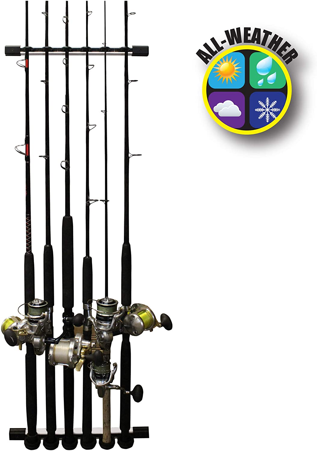 Rush Creek Creations 3 in 1 All Weather 6 Fishing Rod and Pole Storage Rack for Wall or Ceiling - Innovative Expansion Capability, One Size