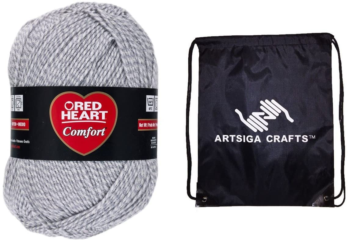 Red Heart Knitting Yarn Comfort Grey Marl 1-Skein Factory Pack (Same Dyelot) E707D-4149 Bundle with 1 Artsiga Crafts Project Bag