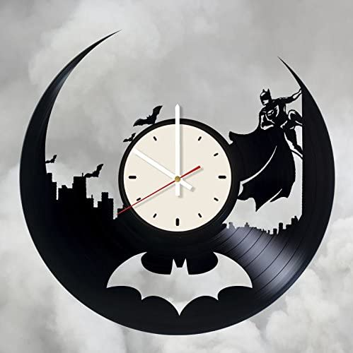 STP Cat Batman DC Vinyl Wall Clock - Handmade Unique Artwork Home Bedroom Living Kids Room Nursery Wall Decor Great Gifts idea for Birthday, Wedding, Anniversary - Customize Your (White/White)