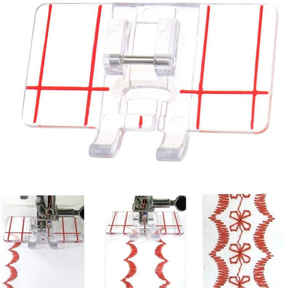 Border Guide Sewing Machine Presser Foot - Fits All Low Shank Snap-On Singer, Brother, Babylock, Euro-Pro, Simplicity, White, Janome, Kenmore, Juki, New Home