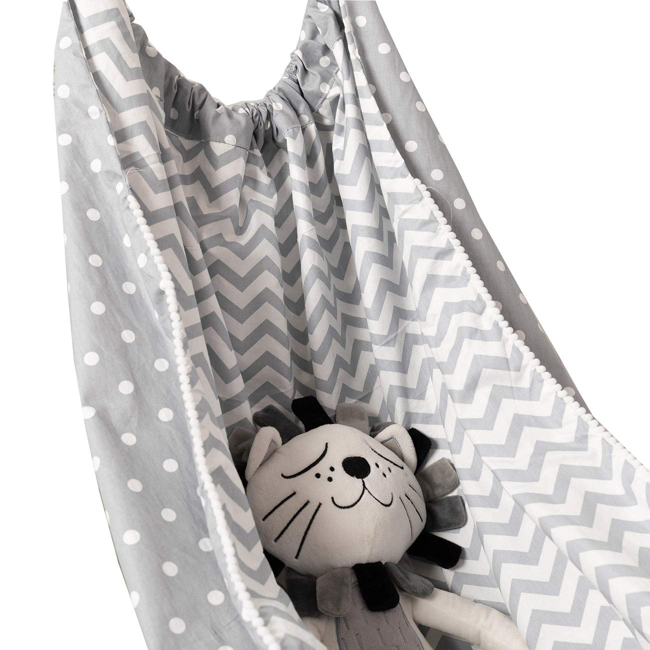 Baby Hammock for Crib Swing Pure Cotton Detachable Portable Better Sleep Hanging Swing Bed Grey