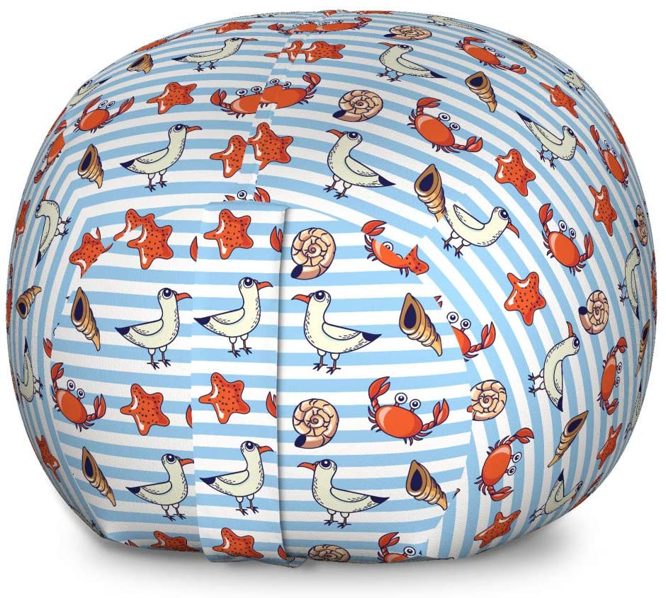 Lunarable Seagulls Storage Toy Bag Chair, Classical Nautical Striped Background with Cartoon Funny Seagulls Crabs and Shells, Stuffed Animal Organizer Washable Bag for Kids, Large Size, Multicolor