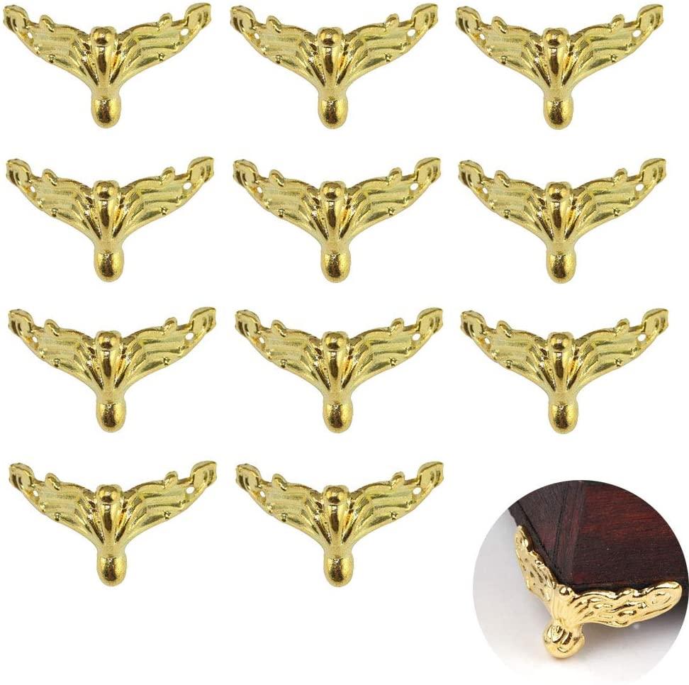 20pcs Antique Brass Box Alloy Tiny Leg Shape Jewelry Chest Gift Box Decorative Feet Leg Corner Protector for Embossing Wood Case Decor 36x198mm (Gold)