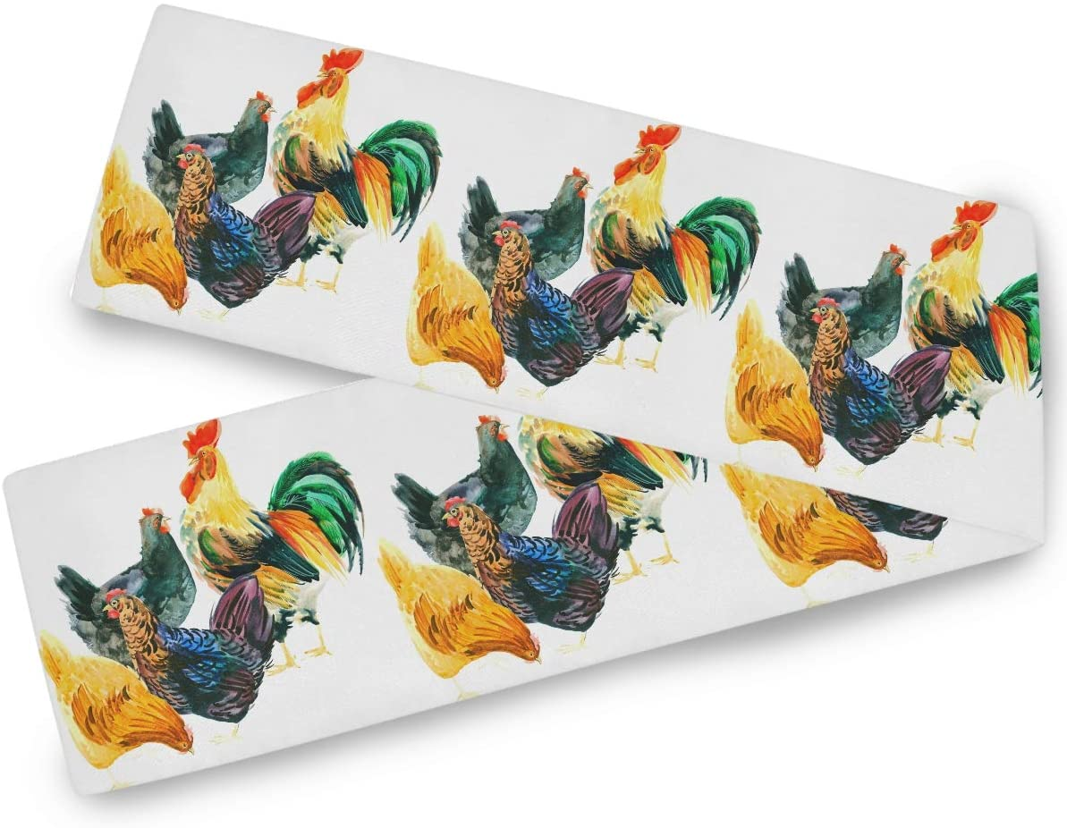 Oarencol Colorful Chicken Rooster Watercolor Animal Cock Table Runner 13x70 inch Double Sided, Polyester Rectangle Table Cloth for Wedding Kitchen Party Dining Home Decor
