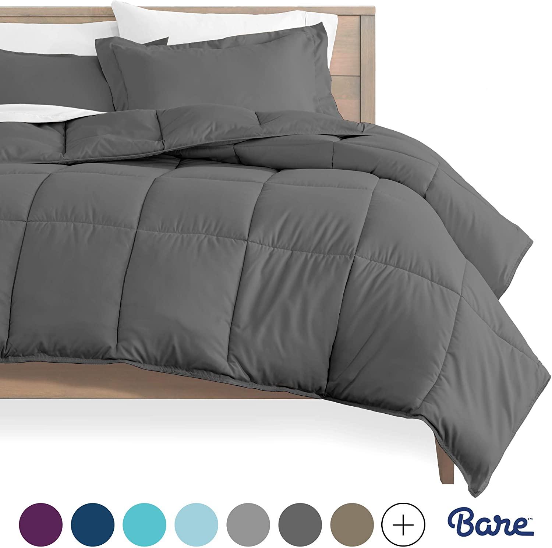 Bare Home Comforter Set - Queen Size - Goose Down Alternative - Ultra-Soft - Premium 1800 Series - Hypoallergenic - All Season Breathable Warmth (Queen, Grey)