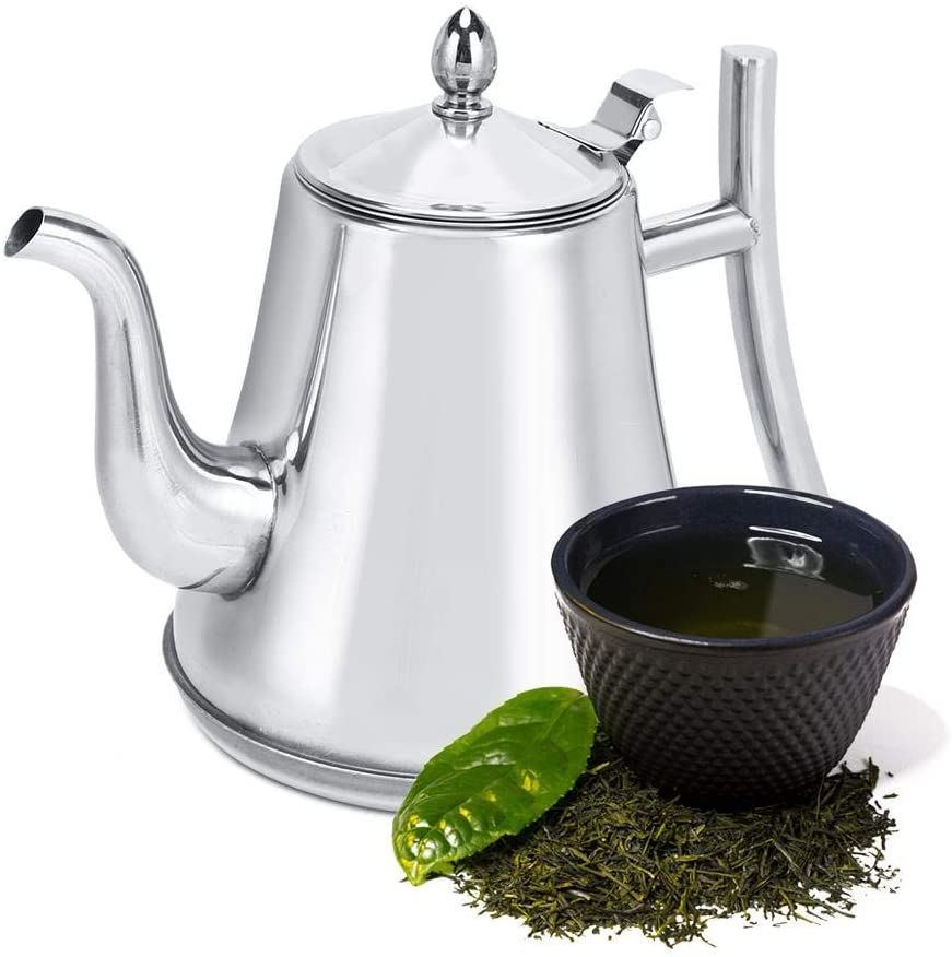 Teapot with Fliter, Household Stainless Steel Kettle Thickened Teapot Coffee Pot with Infuser for Home Office Hotel Restaurant (1.2L)